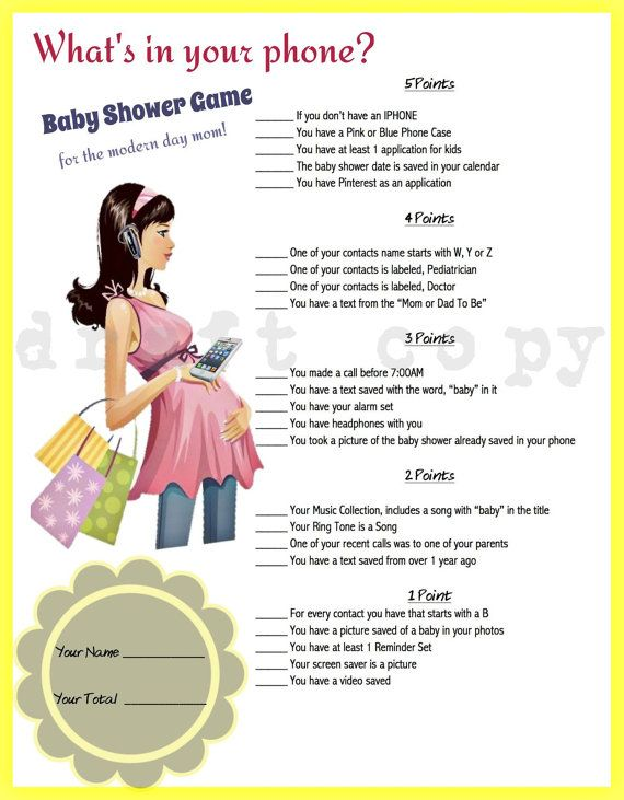 Whats in your phone? Baby Shower Game!