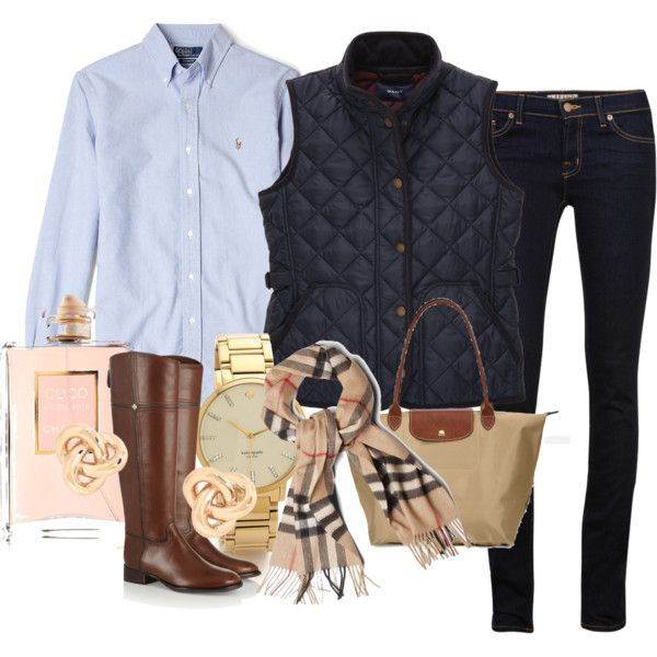 """""""Classic Preppy Look."""" minus the vest and it's perfect"""