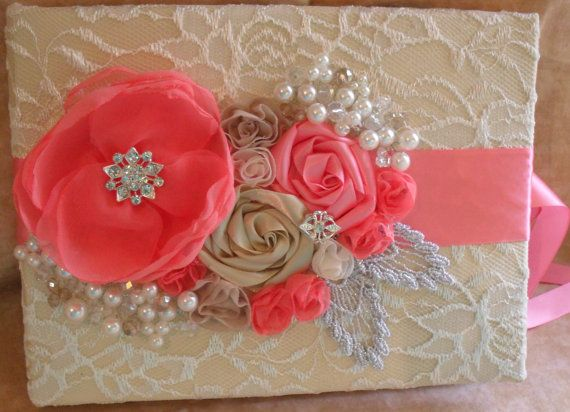 PinkCoral Champagne and Ivory Wedding Guest Book and Pen