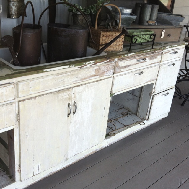 Salvaged kitchen cabinets and sink  Make A House A Home