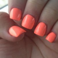 Bright orange/peach neon acrylic nails. | Nail Art and ...