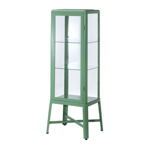 FABRIKÖR Glass-door cabinet - light green - IKEA