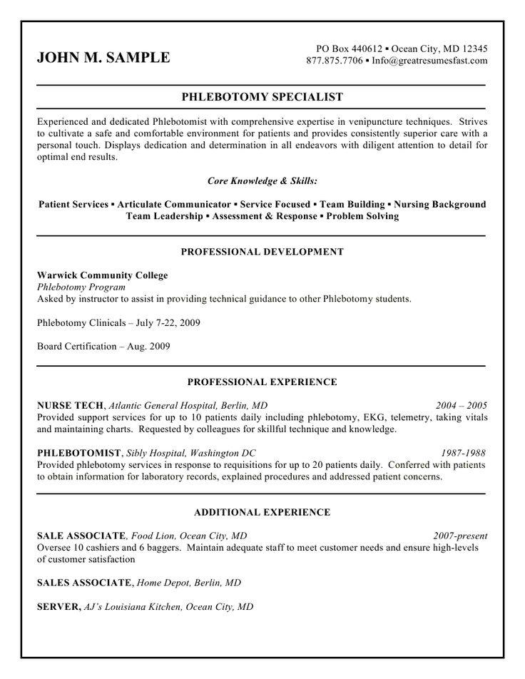 Professional Resume Cover Letter Sample  Corresponding Cover Letter Phlebotomist Cover Letter