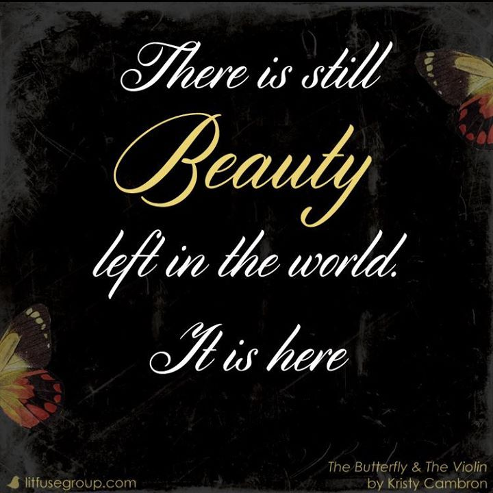 """There is still Beauty left in the world. It is here."" - from the book ""The Butterfly and The Violin"" by Kristy Cambron"