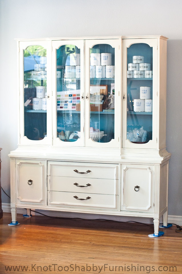 Large Wood China Cabinet Painted Off White with Blue Grey Interior. $1,015.00, via Etsy.