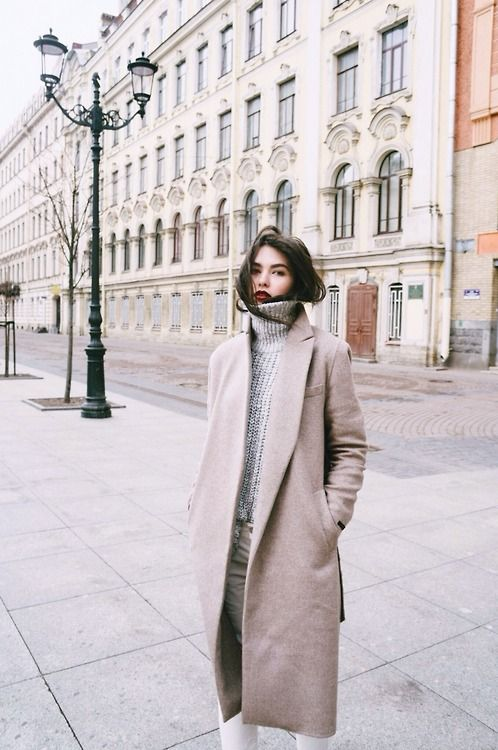 red lip, cozy turtleneck & camel coat #style #fashion