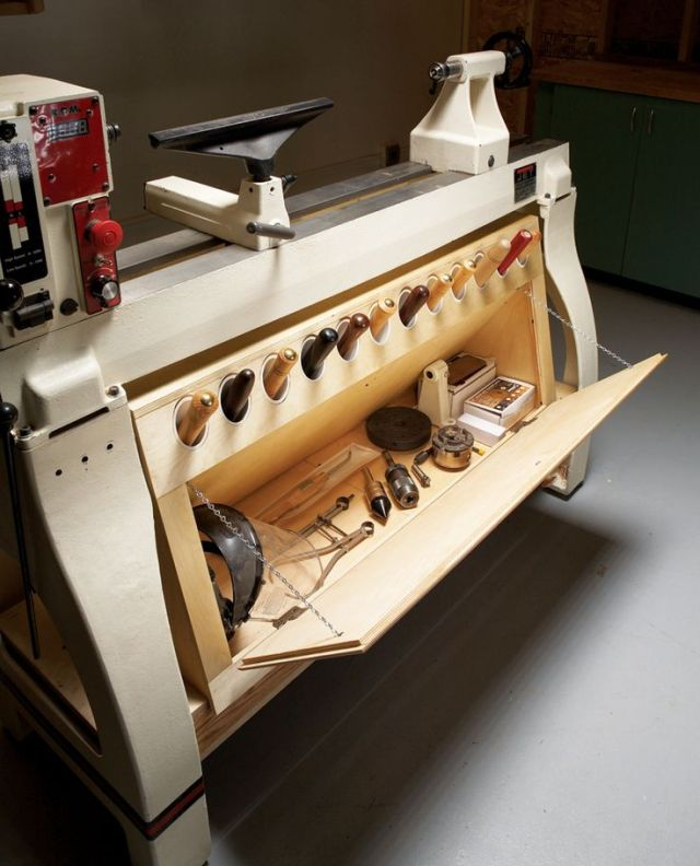 Storage for tools. Wood lathe.