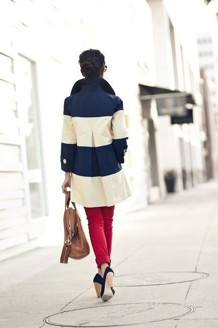 Navy and white stripped coat.