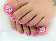 zebra hot pink nails toe nail