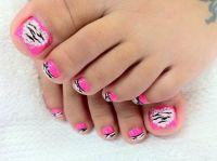 Zebra Hot Pink Nails | TOE NAIL DESIGNS!! | Pinterest
