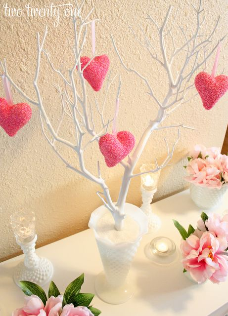 Decor: I'm thinking a little tree in the middle of the table with hanging hearts with my hubby, kids, and my names on them