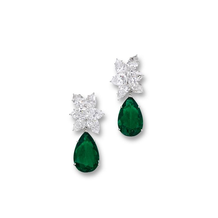 Pair of Emerald and Diamond Pendent Ear Clips, Harry Winston | Lot | Sotheby's