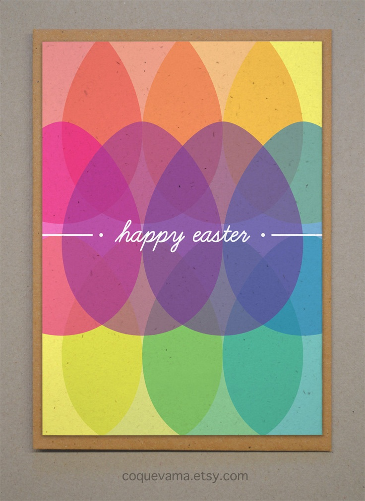 Colorful Easter Card. A6. Happy Easter. Full Color Easter. €3.25, via Etsy.