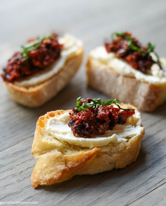 Sun-dried Tomato and Kalamata Olive Bruschetta