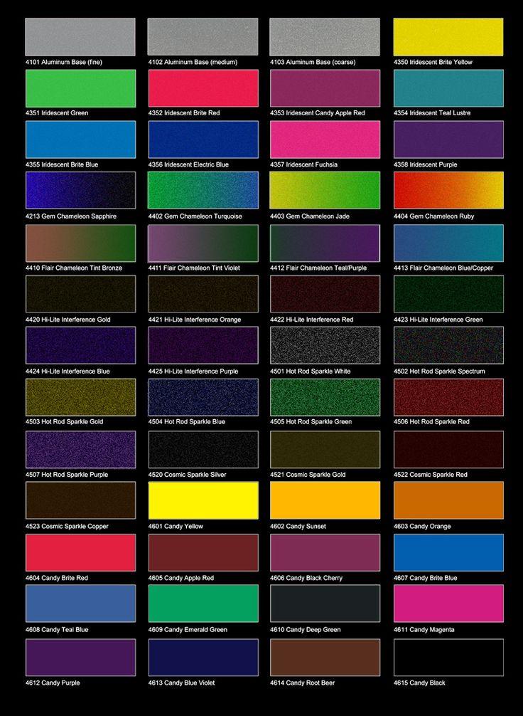 Candy Car Paint Color Chart