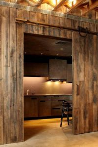 A kitchen....behind a sliding barn door! | My style ...