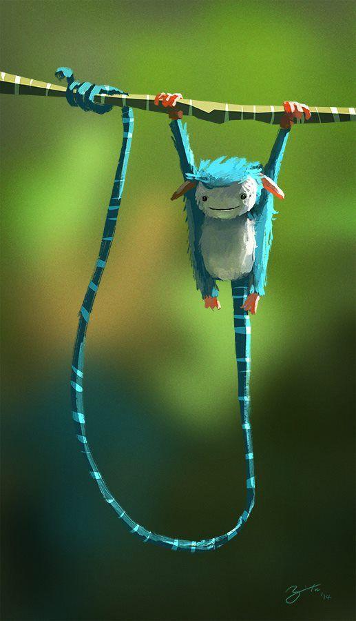 bear1na:  Long Tail Creature (30 minute sketch) by Goro Fujita