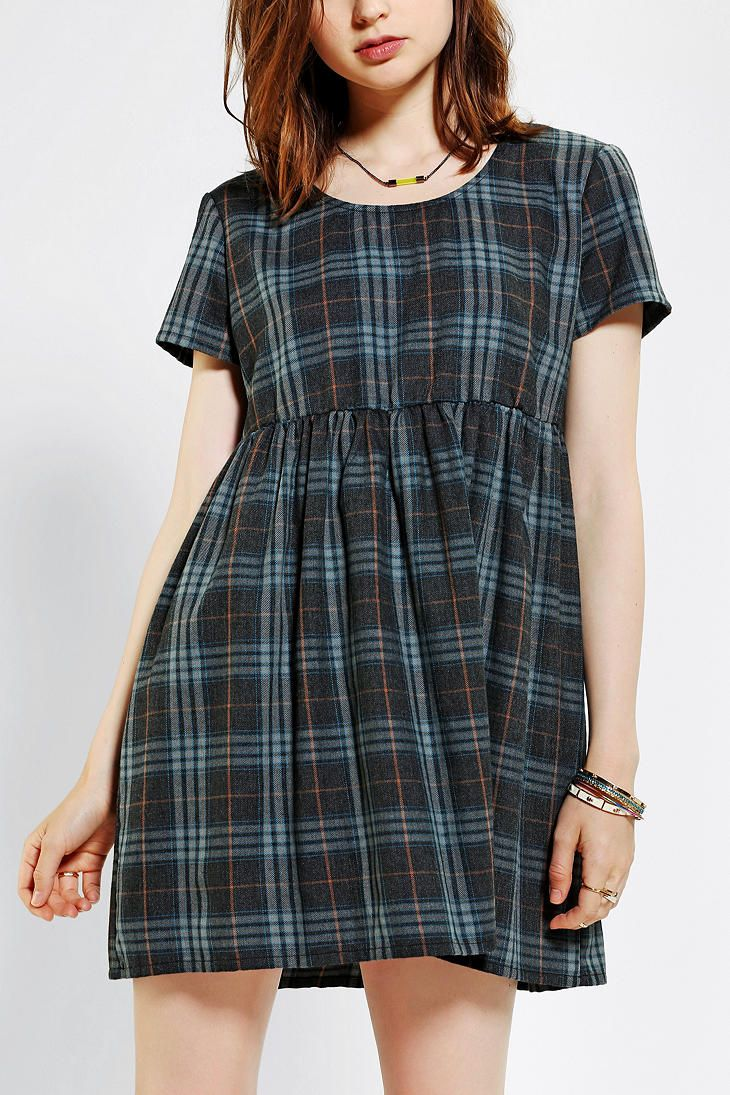 byCORPUS Plaid Babydoll Dress