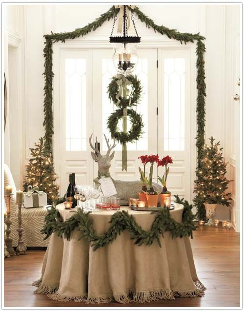 Article + Gallery ➤ http://CARLAASTON.com/designed/decorating-with-burlap  For The Love Of Burlap | The Holiday's Hottest Decorating Tool (Image  Source: Ballard Style Studio - KWs: decor, tutorial, DIY, Christmas, table  cloth)