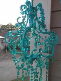 Teal chandelier | Home: Sun porch | Pinterest