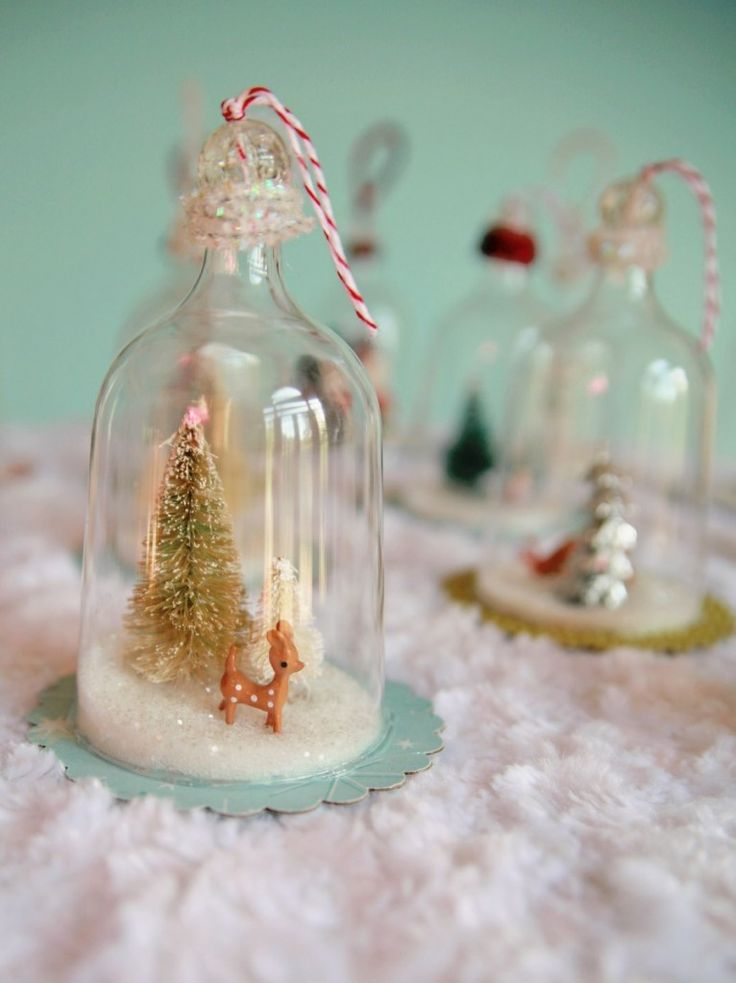 plastic wine glasses & clear glass beads to create these DIY Vintage Inspired Bell Jar Ornaments (complete tutorial)