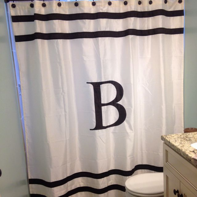 Love our monogram shower curtain  I wantneed these things  Pinterest