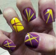 nail art - yellow and purple nails