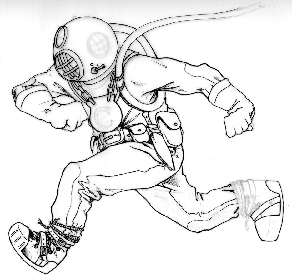 Deep Sea Diver Drawing Sketch Coloring Page