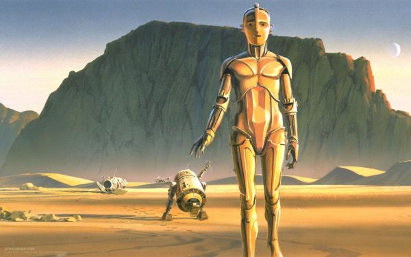 Early -3po And R2-d2 Art Star Wars Movies Concept