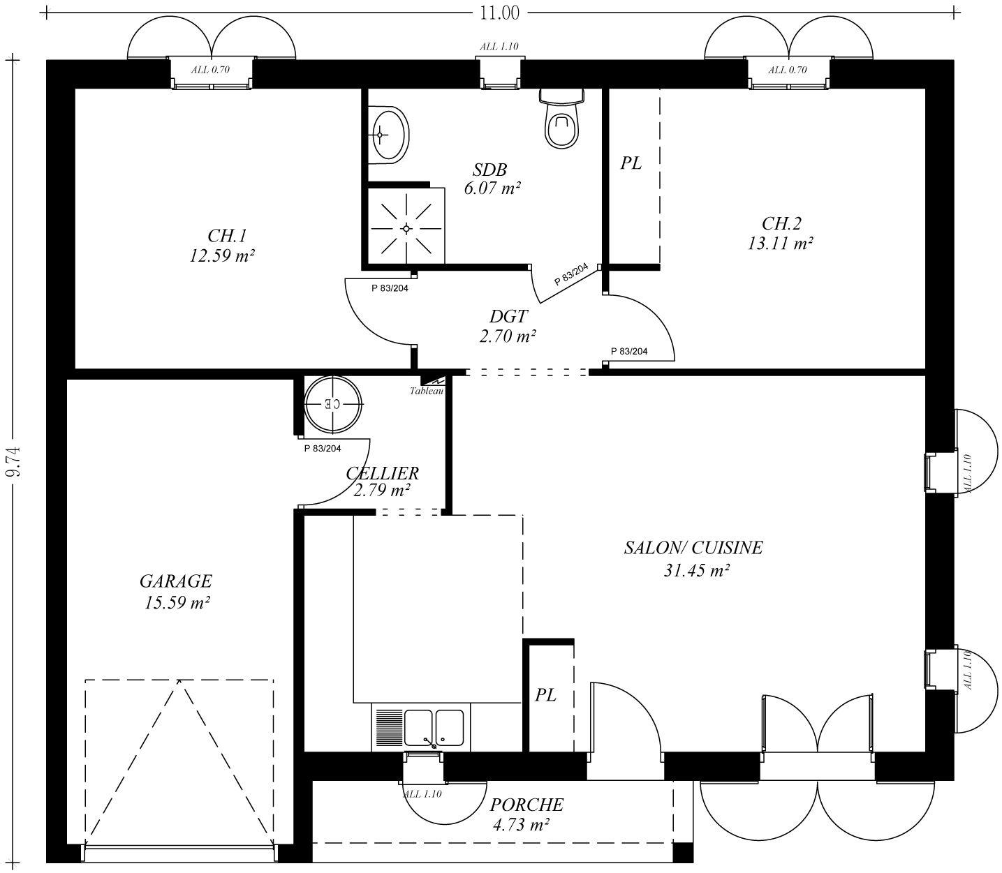 Plan de maison plain pied avec garage for Plan maison plain pied avec garage