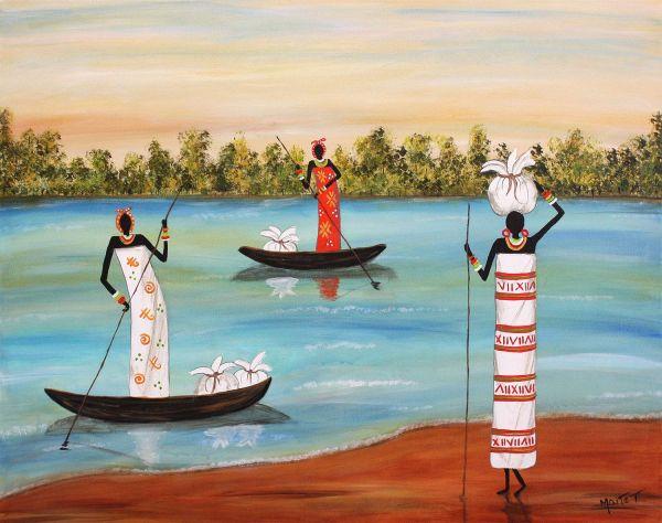 African Women Care Of Families Folk Art