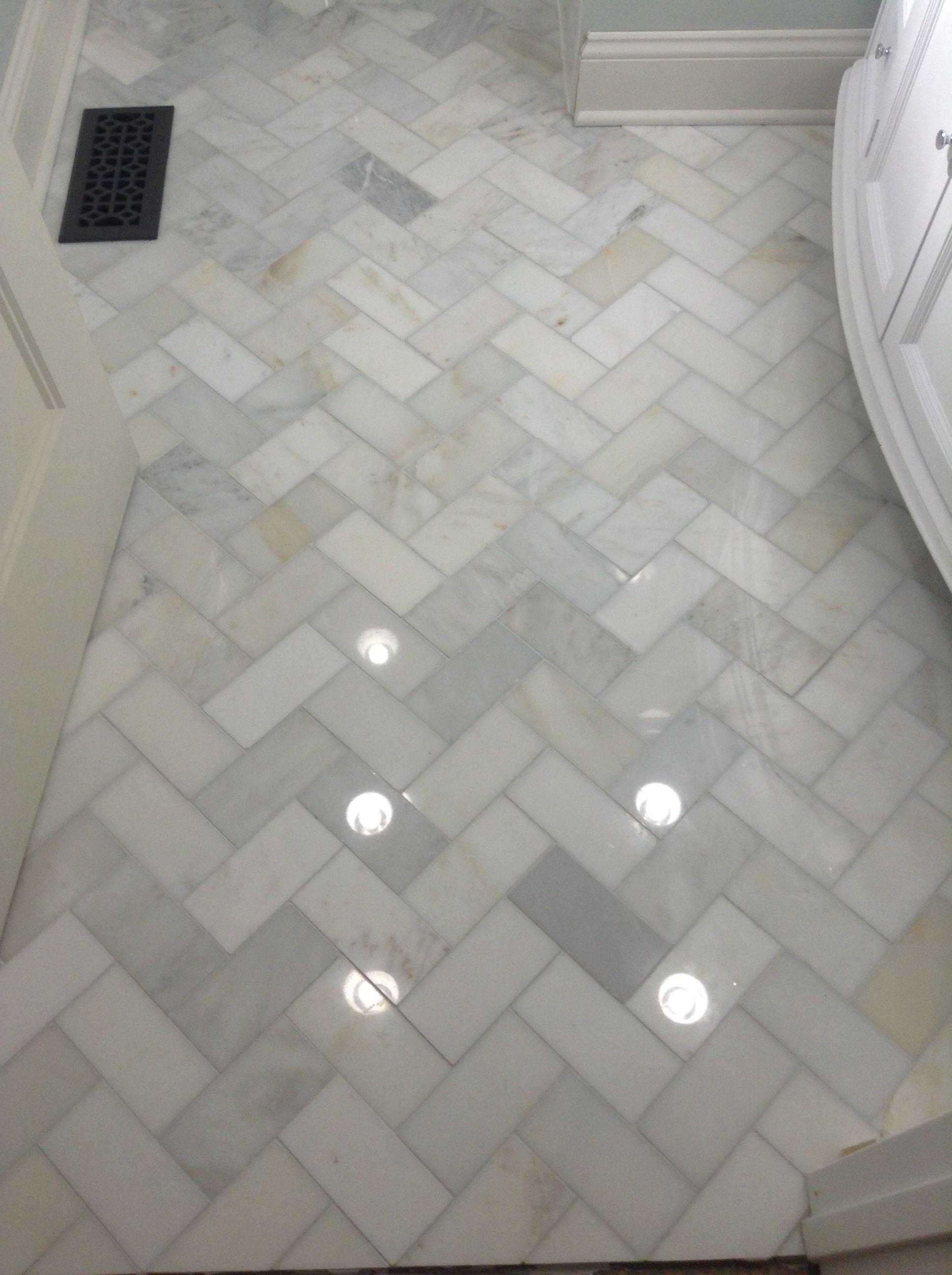 Herringbone marble Bathroom floor