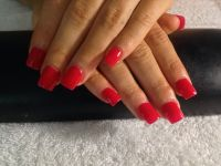 Plain red acrylic nails | {beauty} | Pinterest