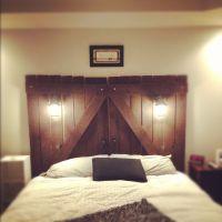 Barn door headboard my husband made me! | DIY headboard ...