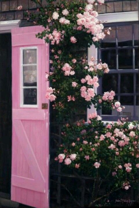 pink door and flowers