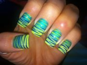 teal with stripes nail art nails