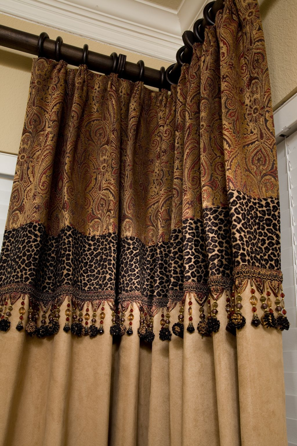 Custom drapery  just a touch of leopard  drapes  Pinterest