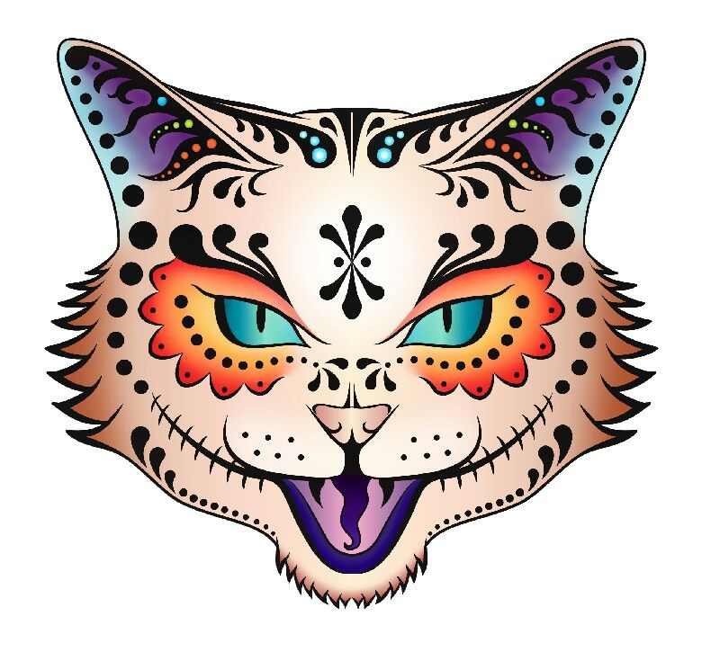The Gallery For > Cat Sugar Skull Drawing