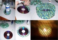 DIY marble candle holder | used cd crafts | Pinterest