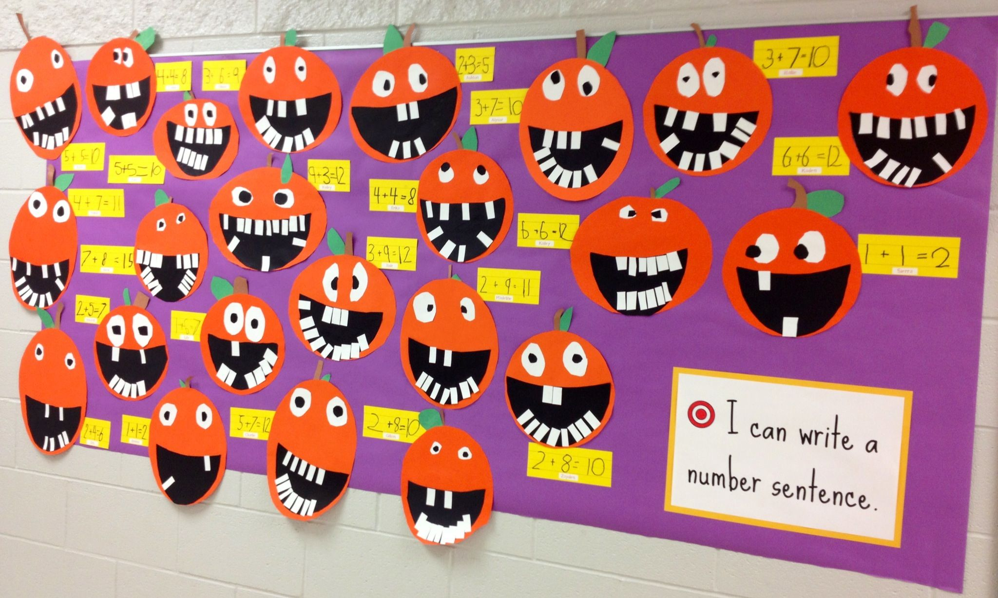 Halloween Number Sentences