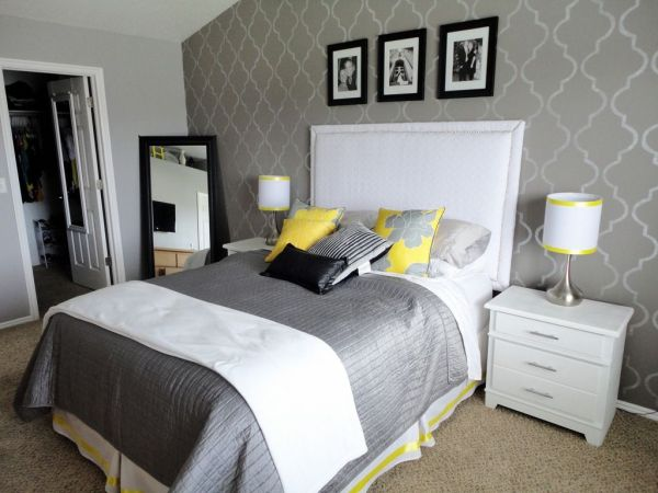 yellow and gray accent bedroom cute white, grey and yellow bedroom. | ☪ Dream Time | Pinterest