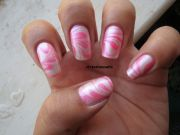 pink marble nails - design