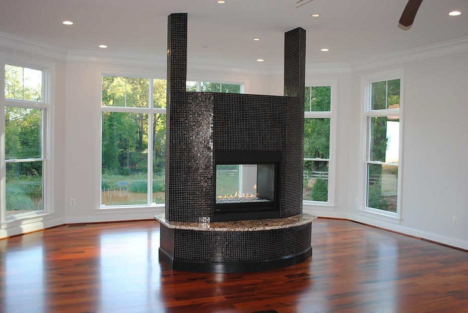 Two sided gas fireplace
