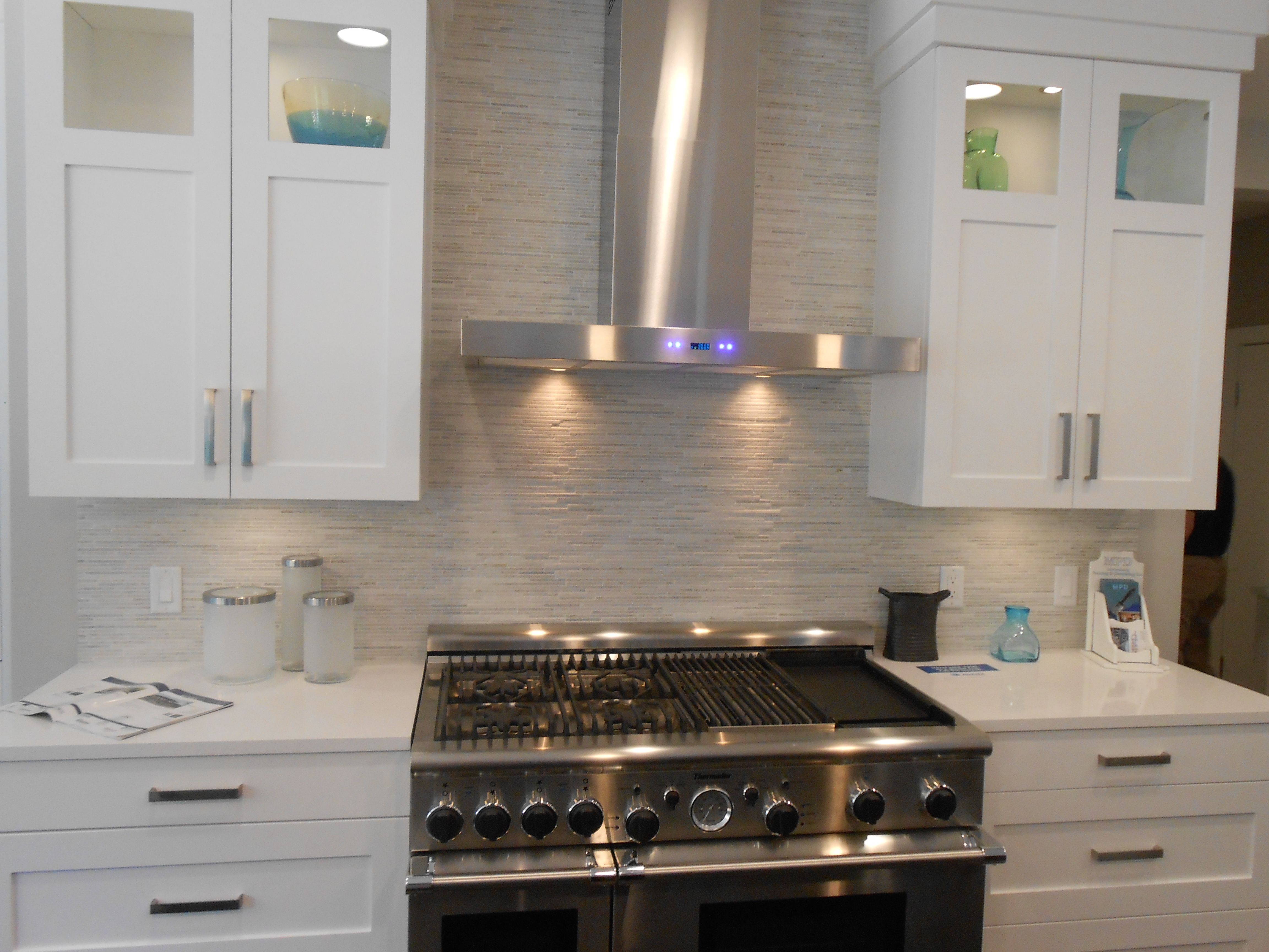 stone backsplash kitchen high arc faucet micro stacked for the home pinterest