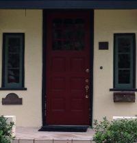Red door yellow house green trim | ew | Pinterest