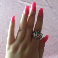 long fake nails .. bright pink | nails | Pinterest