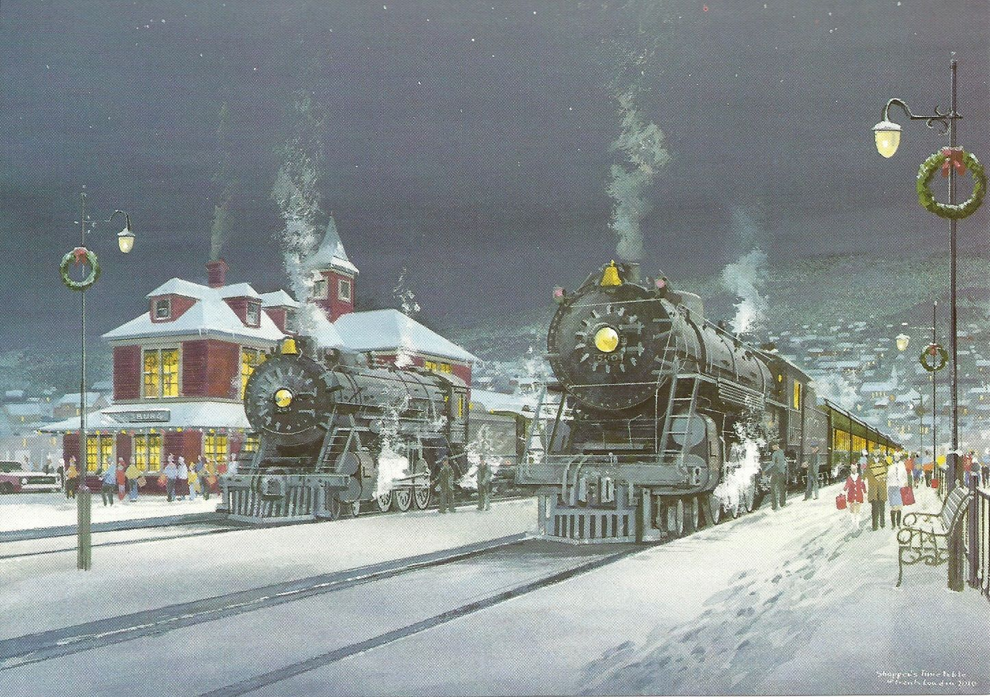 Christmas Card Railroad Art Pinterest