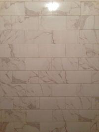 Calacatta porcelain 6x12 tile   Bathroom   Pinterest