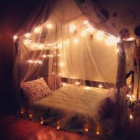 Bedroom with canopies & fairy lights | House | Pinterest