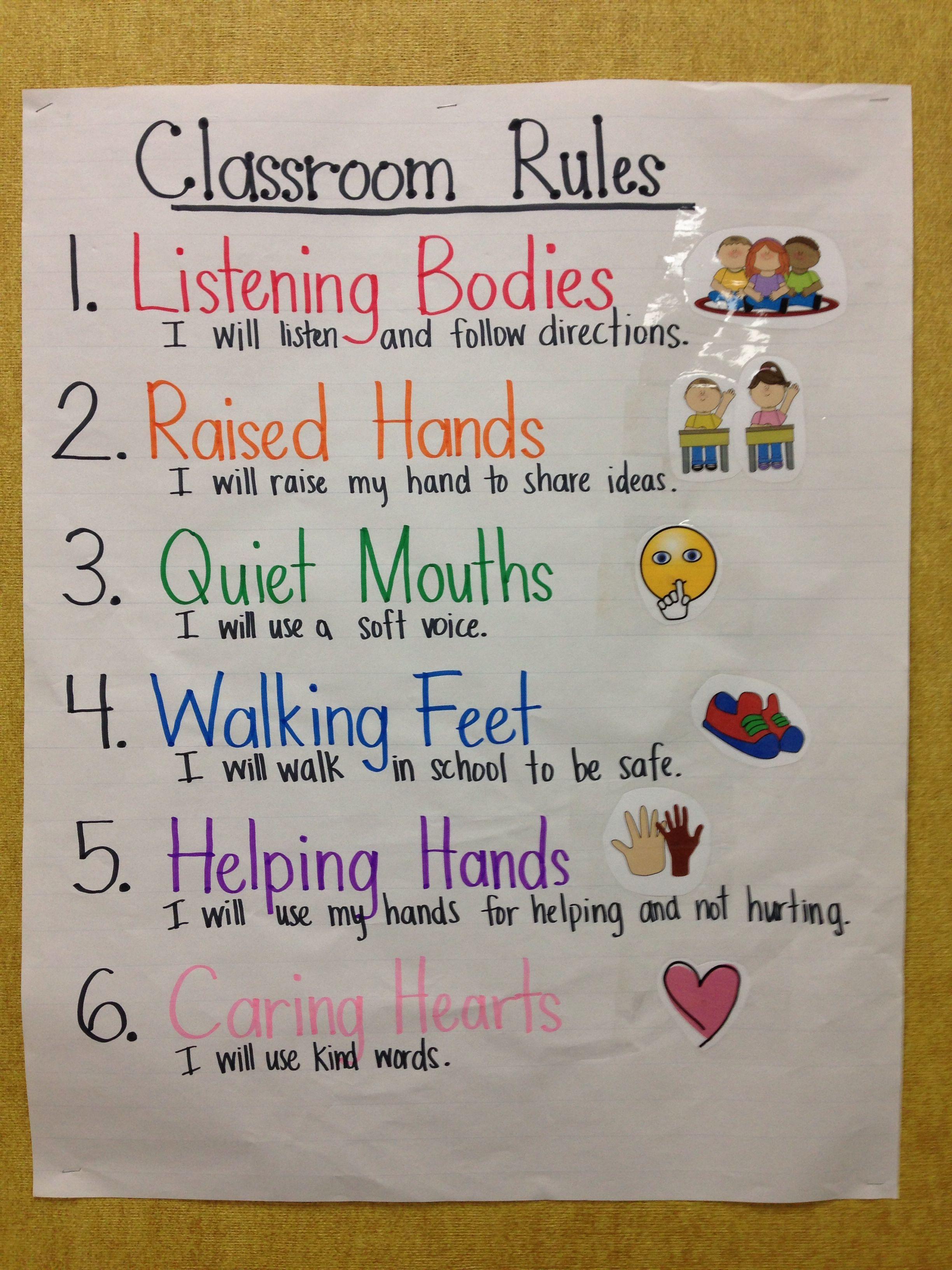 Kindergarten Classroom Rules